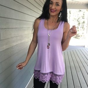 New Light purple lace trim tunic in multiple sizes